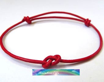 Red string bracelet. Leather string bracelet. Minimalist bracelet. Adjustable size. Everyday bracelet. Friendship bracelet.