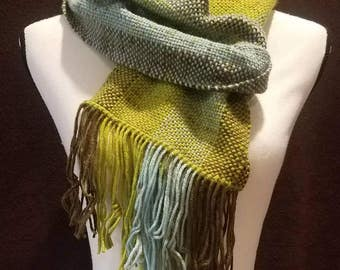 Handwoven scarf in brown, green, and blue