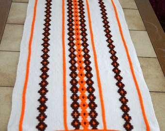 Vintage Tablecloth, Striped Rectangle woven Table runner, Swedish folk art Stripes Tablecloth 102 cm x 45 cm Scandinavian design Table cover