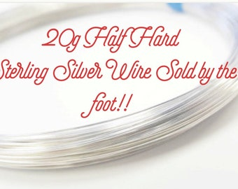 Sterling Silver 20 Gauge Half Hard Round Wire By the Foot