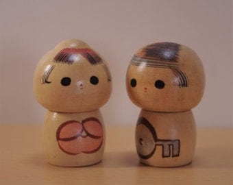K-63  Creative Kokeshi (small size) Carved wooden dolls of Japan.      It is a Kokeshi doll in a unique design.