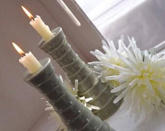Sage Green Textured Candlesticks