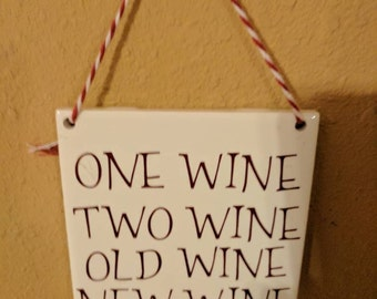One Wine, Two wine ceramic wall hanging tile