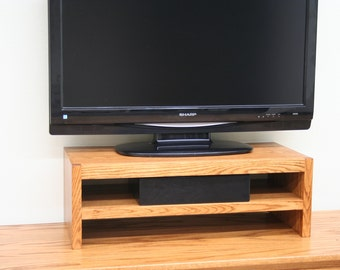 TV Riser Stand in Modern Style Oak Wood Double Tier in Medium Finish