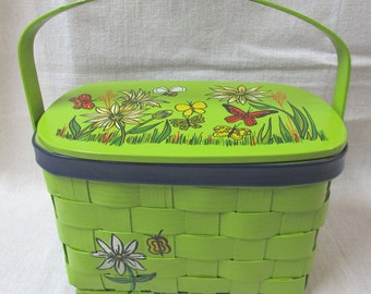 Vintage Basket Purse in Bright Green with Flowers by Cappagallo