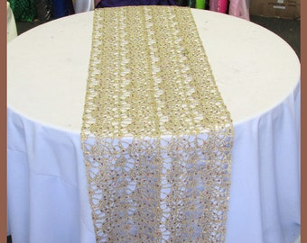 """3 Pcs. 14"""" X 108"""" Chemical Lace Table Runner Wedding Party Decorations Champagne"""