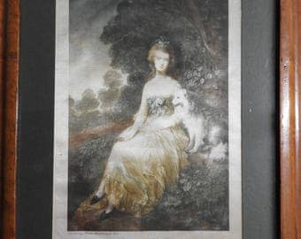 late 18th Century portrait on woven silk picture of Mrs.Mary Robinson by Thomas Gainsborough R.A.(1727-1788)framed,glazed