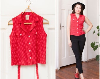 Red White Polka Dot Blouse Womens Small Button Up Dotted Sleeveless Shirt Silky Collared Summer Office Top Bright Secretary Back Tie Blouse