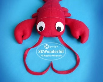 Lobster Plush Stuffed Animal Sewing Pattern PDF