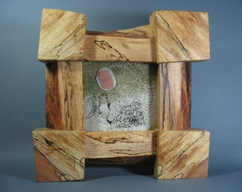 Small Art Quilt in Spalted Maple Frame by pam beal & wayne walma