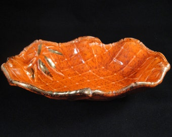 Ceramic Candy Trinket Dish Bowl Serving Hors d'oeuvre Party Bright Orange Speckled Gold Trim Retro 1960s 1970s Mid Century Modern