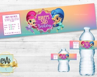 Shimmer and Shine Water Labels/ Shimmer and Shine Party Supplies/ Shimmer and Shine Party
