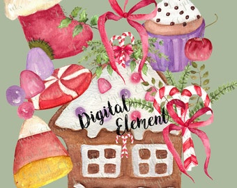 Digital Clipart, Digital Christmas Clip-art, Gingerbread House Clip-art, Candy Canes and Gumdrops, The Holidays Scrapbook Clip-art. No. WC23