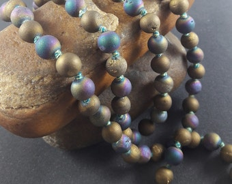 Summer Sale Long Hand Knotted Beads Necklace , Knotted Beads Mala , Majestic Agate Druzy Knotted Beads Mala ( 36 Inch )