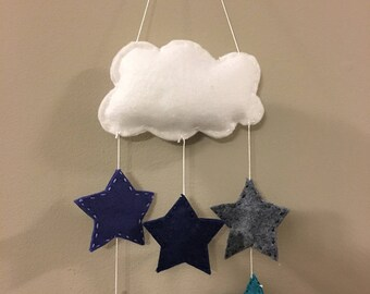 Mini felt mobile, cloud mini stars, nursery, child's room, blue,gray, white