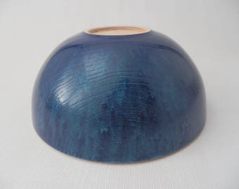 Artistic Hand Painted Blue Wooden Ash Bowl Hand Turned