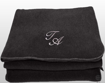 Personalized Custom Embroidery Monogram Polar Sofa Bed Travel Fleece Embroidered Blanket - Grey