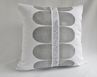 Throw Pillow, Modern ,Grey, Block Printed, Scandinavian style ,Minimalist, White cotton twill