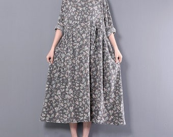 Loose floral dress long dress linen vintage dress flower dress maxi dress