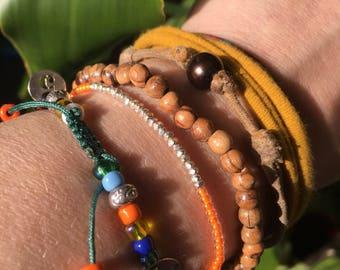 Orange and silver link bracelet