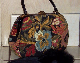 Vintage Floral Tapestry Handbag by M & M Morris Moskowitz