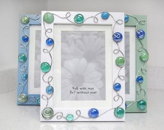 White Picture Frame, Blue Picture Frame, Sage Picture Frame, 4x6 or 5x7 Picture Frame, Beaded Picture Frame, Decorative Picture Frame