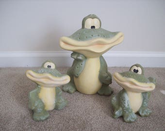 Garden Frogs (Set of 3) Bisque Pottery.