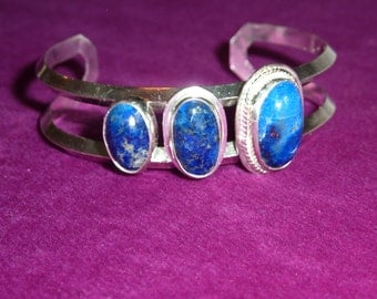 Sterling Silver Wrist Cuff/ Bracelet with 3 Blue Lapis Lazuli Cabochons