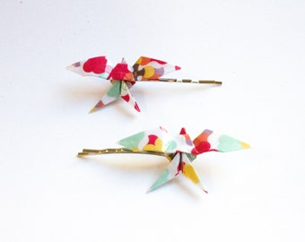Swallow Origami Multicoloured Hair Clips 2 pcs