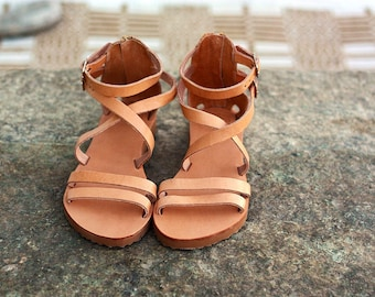 Tan leather strappy sandals, wedge sandals, sandals for women, platform heel