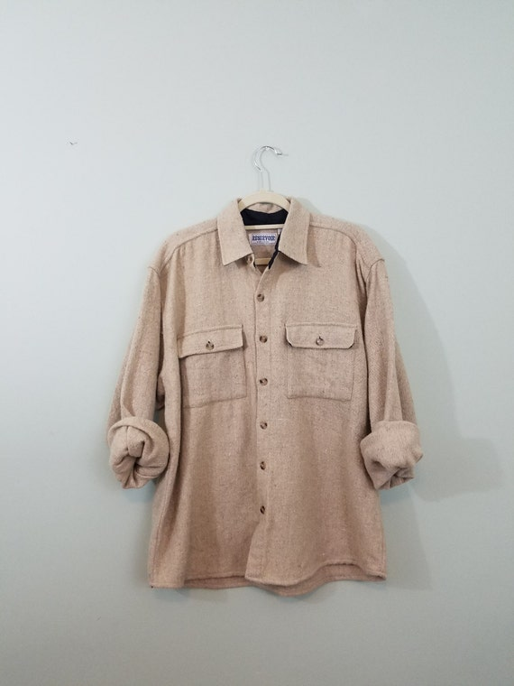 1990s Vintage Wool Shirt / Light Tan, Heavyweight, Flannel Button Down / Minimalist Grunge Flannel / Modern Size Extra Large XL or Large L