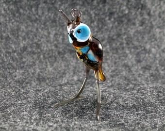 Glass Owl Bird.Art Murano Glass Bird.Great Bird Gift.Glass Birds.Fused Glass.Bird Ornament.Lampwork Glass Bird.Glass Bird Ornament(l22)