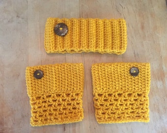 Yellow ear warmers and boot cuffs, crochet ear warmer, crochet boot cuffs, ear warmer and boot cuff set