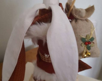 Yuletide Mountain Hare Textile Sculpture