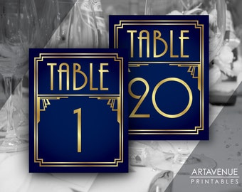 Art Deco Party Table Number Signs 1-20, Gatsby Wedding, Roaring Twenties Party Decor, Art Deco Party Supplies - Navy and Gold - ADNG1