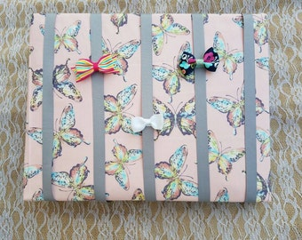Multi Color Butterflies on Light Pink Hair Bow & Headband Organizer /Padded Hair Bow Organizer with Hooks for Headbands/