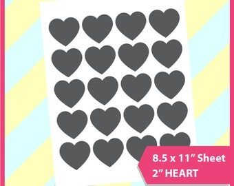 "Instant Download Heart Template, cake topper template PSD, PNG and SVG Formats,  8.5x11"" sheet,  Printable 139"
