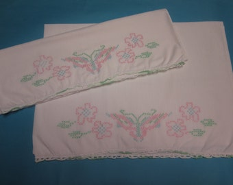 Heirloom pillowcases embroidered pillowcases vintage pillowcases tatted pillowcases butterfly pillowcase set embroider bed linens