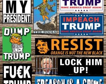 "Resist! Lock Him Up! Anti Trump Bumper stickers 3""X12"" Orange is Not the New Black, Women's March, Protest, Not My President, Impeach Trump"
