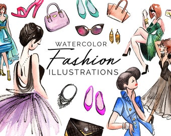 Watercolor Fashion Illustrations - High Res, PNG, Printable and Pretty! For stationery, bridal showers, weddings and more!