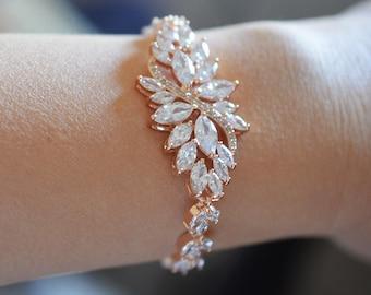 Rose  Gold Wedding bracelet, Rose Gold Bridal bracelet, Crystal Wedding Bracelet, Cubic Zirconia bracelet, Vintage Bracelet,  Ref CECILIA