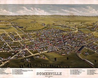 1882 Panoramic Map of Somerville New Jersey