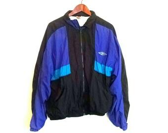 Funky fresh 1980s Wilson colorblock abstract nylon windbreaker jacket