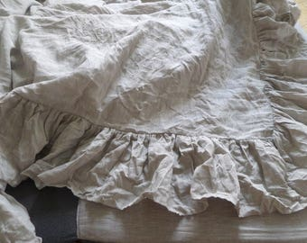Natural Grey-oatmeal Linen Duvet Cover with big ruffles from four sides buttons closure Natural linen bedding ruffled bedding shabby chic