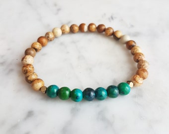 Let it Be Bracelet - Picture Jasper, Pyrite & Chrysocolla