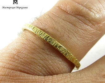 Stacking Gold-plated Ring, Simple Handmade Sterling Silver 925 Ring gold-plated with Medium Texture, Decent Ring