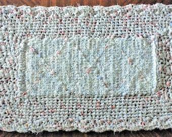 "Crocheted Rag Rug, 42"" X 23"" Rectangular Rug, Handmade/Homemade Rug, Elegant Rug, Pale White/Blue Rug, Unique Rug, Multi-Colored Rag Rug"