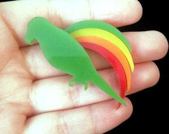 Parrot Brooch -Parrots - Bird Brooch -Colorful Brooch - Plastic Brooch - Rainbow Brooch - Vintage - Unusual Gift - LGBTQ Brooch - Celebrate