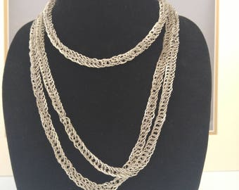 Sterling silver woven necklace - Antique neck muff chain - Art deco jewelry - VJR210