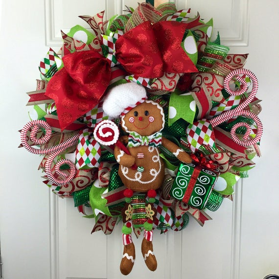 Holiday Ginger Bread Ginger Bread Deco Mesh Wreath Ready To